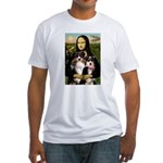 MonaLisa-Two Aussie Sheps. Fitted T-Shirt
