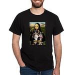 MonaLisa-Two Aussie Sheps. Dark T-Shirt