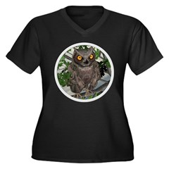 The Wise Old Owl Women's Plus Size V-Neck Dark T-S