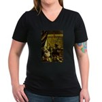 The Artist-AussieShep1 Women's V-Neck Dark T-Shirt