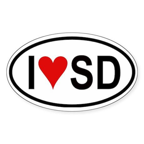 I Love San Diego Oval Sticker