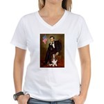 Lincoln / Basset Hound Women's V-Neck T-Shirt