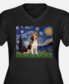 Starry Night / Beagle Women's Plus Size V-Neck Dar