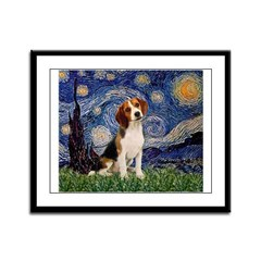 Starry Night / Beagle Framed Panel Print