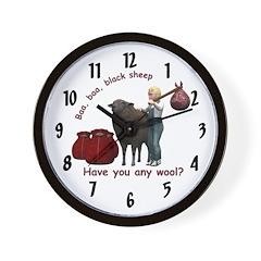 Wall Clock - Baa, Baa, Black Sheep