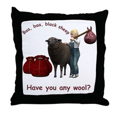 Throw Pillow - Baa, Baa, Black Sheep
