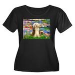 Lilies / Bearded Collie Women's Plus Size Scoop Ne