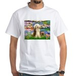 Lilies / Bearded Collie White T-Shirt