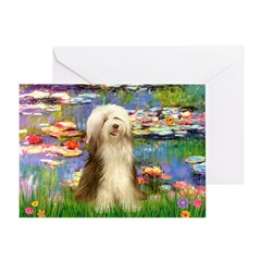 Lilies / Bearded Collie Greeting Card