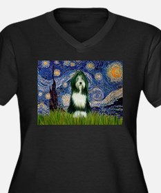 Starry Night /Bearded Collie Women's Plus Size V-N
