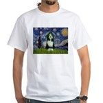 Starry Night /Bearded Collie White T-Shirt