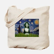 Starry Night /Bearded Collie Tote Bag
