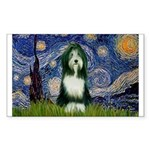 Starry Night /Bearded Collie Sticker (Rectangle)