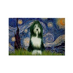 Starry Night /Bearded Collie Rectangle Magnet (10
