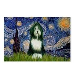 Starry Night /Bearded Collie Postcards (Package of