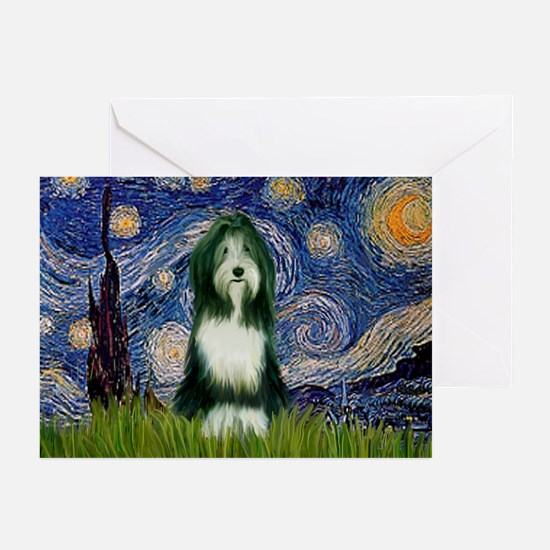 Starry Night /Bearded Collie Greeting Cards (Pk of