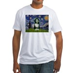 Starry Night /Bearded Collie Fitted T-Shirt