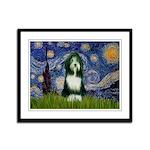 Starry Night /Bearded Collie Framed Panel Print