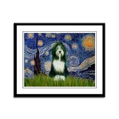 Starry Night /Bearded Collie Framed Panel Print