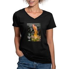 Fairies / Bearded Collie Women's V-Neck Dark T-Shi