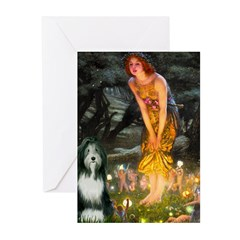 Fairies / Bearded Collie Greeting Cards (Pk of 20)