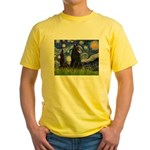Starry Night /Belgian Sheepdog Yellow T-Shirt