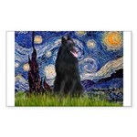 Starry Night /Belgian Sheepdog Sticker (Rectangle)
