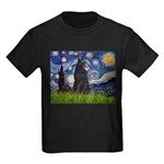 Starry Night /Belgian Sheepdog Kids Dark T-Shirt
