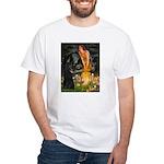 Fairies /Belgian Sheepdog White T-Shirt