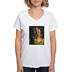 Fairies /Belgian Sheepdog Women's V-Neck T-Shirt
