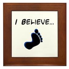 I believe in bigfoot Framed Tile