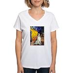 Terrace Cafe & Borzoi Women's V-Neck T-Shirt