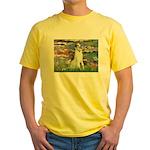Borzoi in Monet's Lilies Yellow T-Shirt