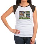 Borzoi in Monet's Lilies Women's Cap Sleeve T-Shir