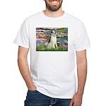 Borzoi in Monet's Lilies White T-Shirt