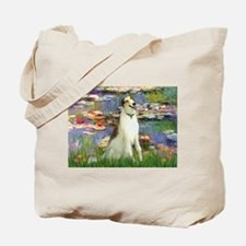 Borzoi in Monet's Lilies Tote Bag