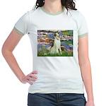 Borzoi in Monet's Lilies Jr. Ringer T-Shirt