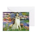 Borzoi in Monet's Lilies Greeting Cards (Pk of 10)