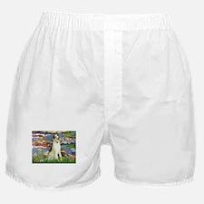 Borzoi in Monet's Lilies Boxer Shorts