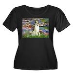 Borzoi in Monet's Lilies Women's Plus Size Scoop N