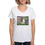 Borzoi in Monet's Lilies Women's V-Neck T-Shirt