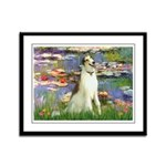 Borzoi in Monet's Lilies Framed Panel Print