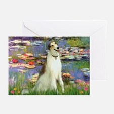 Borzoi in Monet's Lilies Greeting Cards (Pk of 20)