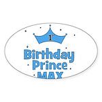 Max 1st Birthday Prince! Oval Sticker