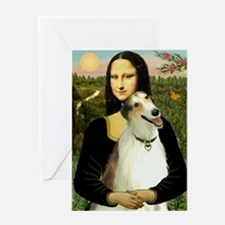Mona & her Borzoi Greeting Card