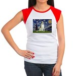 Starry Night & Borzoi Women's Cap Sleeve T-Shirt
