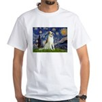 Starry Night & Borzoi White T-Shirt