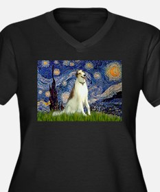 Starry Night & Borzoi Women's Plus Size V-Neck Dar
