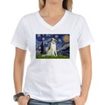 Starry Night & Borzoi Women's V-Neck T-Shirt