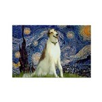 Starry Night & Borzoi Rectangle Magnet